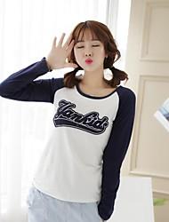 Damen Druck Einfach Lässig/Alltäglich T-shirt Frühling / Herbst Langarm Weiß Baumwolle Undurchsichtig / Dünn