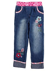 Children's Denim Pants Flowers Embroidery Casual Jeans Random Print