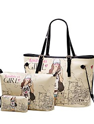 Women's Girl Letter Print Three Piece PU Bags (Handbag+Crossbody Bag+Clutch Bag)