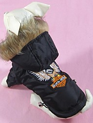Dog Coat Black Winter Embroidered
