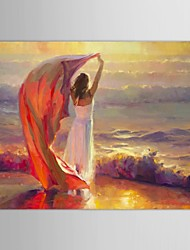 Hand Painted Oil Painting People  Ocean Breeze by Steve Henderson with Stretched Frame