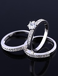 Women's High Quality Platinum Electroplate Rings(Three For One Set)