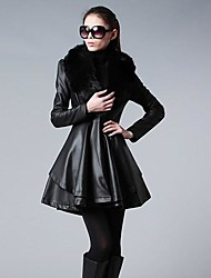 Women's High-Grade Real Hair Long Paragraph Leather Coat