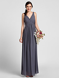 LAN TING BRIDE Floor-length Chiffon Bridesmaid Dress - Sheath / Column V-neck Plus Size / Petite