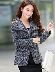 Women's Coat,Solid Long Sleeve Winter Gray Wool / Polyester Thick