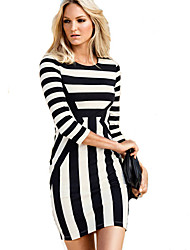 Jimi Women's Fashion Slim Round Collar Stripes Mid Sleeve Dress