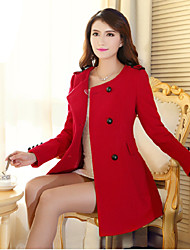 Women's Coats & Jackets , Wool Casual Luoweiqiguli