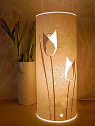 lámpara de pie 1 luz patrón de flores pantalla de pergamino 220v retro