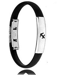 moda personalidade de titânio de aço de silicone doze constelações de Sagitário pulseiras masculinas