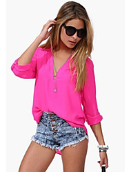 Women's Tops & Blouses , Chiffon Casual ¾ Sleeve
