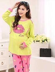 impressões moda lábio de maternidade conjunto roupa pijamas amamentação