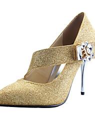 Calçados Femininos - Saltos - Bico Fino / Sapatos com Bolsa Combinando - Salto Agulha - Dourado - Gliter - Social / Festas & Noite