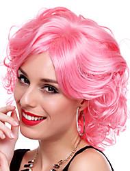 encantadora chica de fibra sintética de color rosa del partido de halloween peluca los 30cm de las mujeres