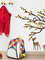 Doudouwo® Wall Stickers Wall Decals, Animals the Colorful and Beautiful Owl Deer Tree PVC Wall Stickers
