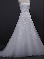 LAN TING BRIDE A-line Wedding Dress Vintage Inspired Court Train Strapless Lace Tulle with Appliques Beading