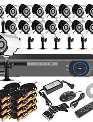 16-kanaals H.264 woningbeveiligingssysteem DVR-kit (16-delig, 700TVL IR-cut waterdichte buitencamera, HDMI, USB, 3G/wifi)
