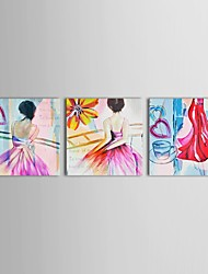 Hand Painted Oil Painting People Semi-Nude Dancing Ladies Wall Picture with Stretched Frame Set of 3