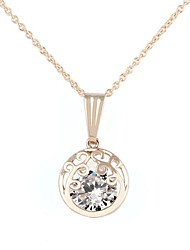 Round Hollowed Tree-Shaped Alloy Inlay Crystal Zircon Necklace Gold(1Pc)