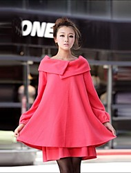 Women's Cape Korean Plus Size with Belt Woolen Blend Maternity Trench Coat