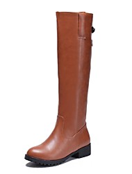 Women's Fall / Winter Riding Boots Leatherette Dress Chunky Heel Buckle Black / Brown / Champagne