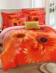 H&C ®  Thicken Cotton Sanded Fabric Duvet Cover Set  4 Pieces Sunflower Pattern
