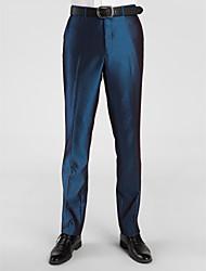 poliéster azul oscuro adaptado ajuste pantalón