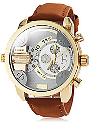 Men's Military Style Dual Time Zones Khaki Leather Band Quartz Wrist Watch Cool Watch Unique Watch Fashion Watch