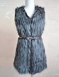 chalecos de piel de imitación de la moda chaleco de piel con correa