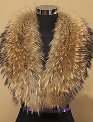 Women Raccoon Fur Accessory , Fleece Lining/Removable Fur Collar