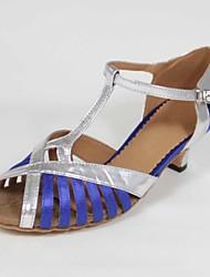 Customizable Women's Dance Shoes Latin Satin/Leatherette Customized Heel Blue