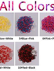 600pcs cor do arco-íris tear nova dupla cor da moda tear band (clipe 1package s, cores sortidas)
