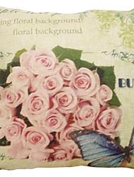 """createforlife® 18 """"bando de retro capa de travesseiro decorativo quadrado roupa de rosas de algodão"""