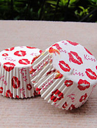 baiser kissred Cupcake Wrappers-ensemble de 50