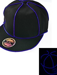 Black Light Up Hat with Blue EL Wire LED Glow Snapback 1AAA battery