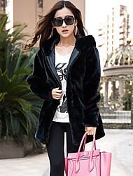 abrigo de pelo de conejo de imitación hoodie aifeili (negro)