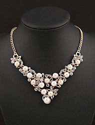Vely Women's Fashion Crystal Pearl Bright Flowers Necklace
