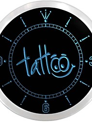 Tattoo Body Inked Shop Neon Sign LED Wall Clock
