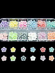 60PCS 12 Colours Little Flower Resin Nail Art Decoration