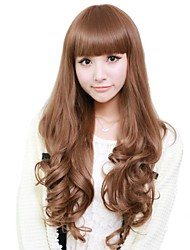 frange complètes synthétiques de haute qualité capless perruque de longs cheveux bouclés