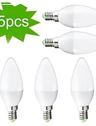 5W E14 Luci LED a candela C35 27 SMD 3022 300 lm Bianco caldo Decorativo AC 220-240 V 5 pezzi