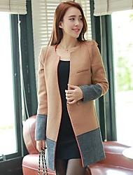 Women's Personality Self Splicing Wool Coat