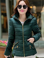 Women's Keep Warm Solid Color Hooded Down Coat
