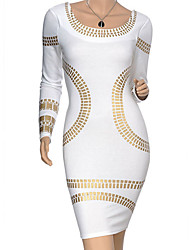 VICONE Women's Long Sleeve Round Collar Slim Pencil Dresses