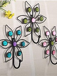 Metal Wall Art Wall Decor,Hook Flower Type Wall Decor Set Of 3