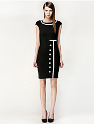 Women's Square Short Sleeve Bodycon Midi Dress with Buttons