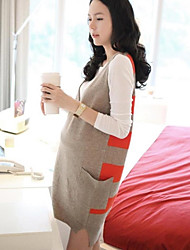 Maternity's Fashion Leisure Two Piece Suit Render Garments And Big Stripe Pinafore Maternity Dress