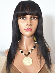 20Inch Sweet Long Silky 100% Human Virgin Hair Indian Hair Lace Front Wig With Bangs For Women