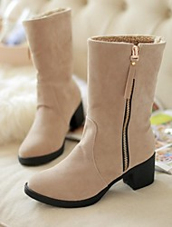 Women's Shoes Round Toe Chunky Heel Mid-Calf Boots with Zipper More Colors available