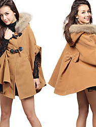 Winter Hooded Faux Fur Collar Woolen Blend Cape Coat