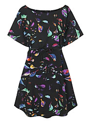 Women's Birds Printed Loose Dress(Without Belt)